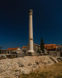 On Temple there was Corinthian column, Nin, Croatia. In very centre of Nin, Croatia, on location of once Roman forum, remains of monumental Roman Temple can be Stock Photography