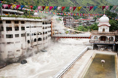 Temple with thermal spring, Manikaran, India Stock Image