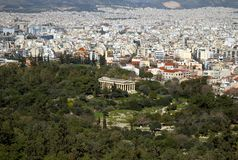 The temple of Thisseio in Athens, Greece. The temple of Thisseio or temple of Hephaestus as seen from Acropolis of Athens, Greece Royalty Free Stock Image