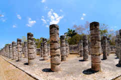 Temple of a Thousand Warriors, Mexico. Columns in the Temple of a Thousand Warriors, Chichen Itza, Mexico Stock Photo