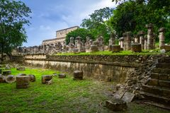 The Temple of Thousand Warriors in Mexico Stock Images