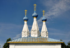 The temple. Three domes. The old temple. Three domes with crosses royalty free stock photo