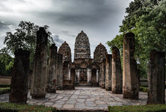 Temple of three spires pagodas in Sukhothai. World heritage site Stock Photo