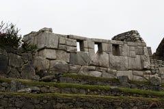 Temple Of Three Windows Machu Picchu Peru South America. Inca Temple Of Three Windows With Overcast Sky Machu Picchu Peru South America royalty free stock photos