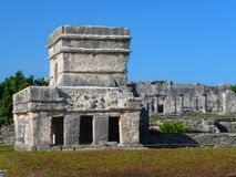 Temple with three windows at Tulum in Mexico Stock Photography