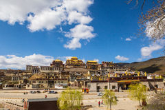 Temple in tibet in blue sky. Temple in Tibet at blue sky at noon, Songzanlin temple Royalty Free Stock Images