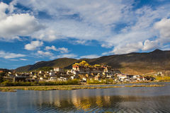 Temple in tibet in blue sky. Temple in Tibet at blue sky at noon, Songzanlin temple, panorama view,with reflection Royalty Free Stock Photography