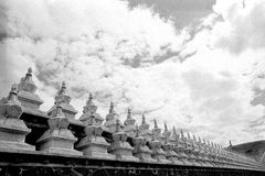 Temple of Tibetan Buddhism. Scene of Temple of Tibetan Buddhism at a sunny day with magnificent cloudy sky Royalty Free Stock Image