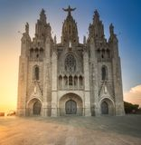 Temple at Tibidabo. Temple of the Sacred Heart of Jesus Tibidabo Barcelona during sunset, Spain Stock Photography