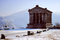 The Temple to the sun god Mihr (Mithra) near Garni in winter. The Temple of Garni is a reconstructed classical Hellenistic temple near Garni, Armenia. It is the stock photo