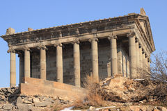 The Temple to the sun god Mihr (Mithra) near Garni in winter. The Temple of Garni is a reconstructed classical Hellenistic temple near Garni, Armenia. It is the stock image