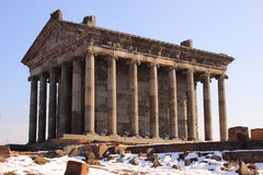 The Temple to the sun god Mihr (Mithra) near Garni in winter. The Temple of Garni is a reconstructed classical Hellenistic temple near Garni, Armenia. It is the stock photos
