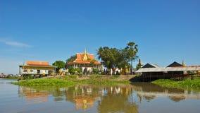Temple on Tonle Sap Lake in Cambodia Stock Photo