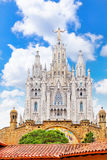 Temple on top of Mount Tibidabo Royalty Free Stock Images
