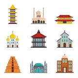 Temple tower castle icons set flat style stock illustration