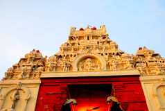 Temple Tower, Tamilnadu, India. Temple tower of a famous Murugan temple in Thiruchendur, Tamilnadu, India stock photos