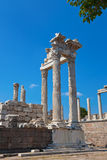 Temple of Trajan at Acropolis of Pergamon in Turkey Royalty Free Stock Image