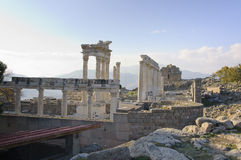 Temple of Trajan in Pergamon. The ruins of the Temple of Rome emperor Trajan in Pergamon Stock Photos