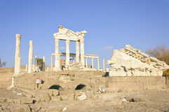 Temple of Trajan in Pergamon. The ruins of the Temple of Rome emperor Trajan in Pergamon Stock Image