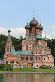 Temple of Trinity in Ostankino near pond at summer day Royalty Free Stock Photography