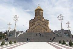 Temple Tsminda Tbilisi Sameba. Holy Trinity Church, Spring 2013 Royalty Free Stock Image