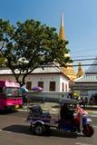 Temple and Tuk Tuk Bangkok Thailand Stock Photography