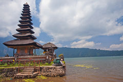 Temple Ulun Danau on Bratan Lake in Bali Royalty Free Stock Photo