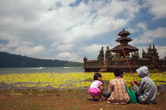 Temple Ulun Danau on Bratan Lake in Bali. Stock Images