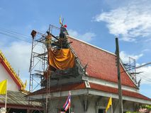 Temple under construction. At thailand with blue sky royalty free stock photos