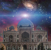 Temple of the universe. Temple in eastern style. Universe with galaxies on a background.  Some elements provided courtesy of NASA Royalty Free Stock Images