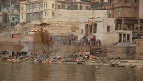 Temple at Varanasi ghat  Ganges River stock video footage