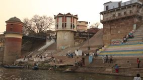 Temple at Varanasi ghat  Ganges River stock footage