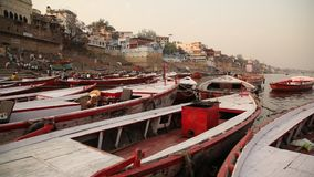 Temple at Varanasi ghat  Ganges River stock video