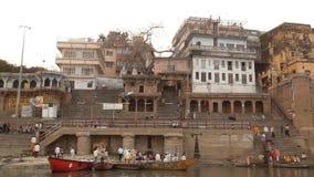 Temple at Varanasi ghat  Ganges River stock video