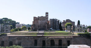 Temple of Venus and Roma. The temple of venus and roma as seen from the colosseum in the early morning not a tourist in sight royalty free stock photos