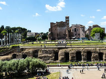The temple of Venus and the Roma  by the Colosseum in the city of Rome Italy. The Colosseum was the Flavian Amphitheatre built by Vespasian in what was the lake Stock Images