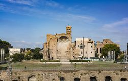 Temple of Venus and Roma at the entrance of Roman Forum. Seen from the Colosseum. Rome, Italy. Royalty Free Stock Images