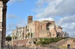 Temple of Venus and Roma ruins near Roman Forum. Apse and columns from the ancient Temple of Venus and Roma, in the center of Rome Stock Photo
