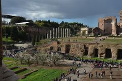 Temple of Venus and Roma, sky, wall, ruins, tourist attraction. Temple of Venus and Roma is sky, tourist attraction and tree. That marvel has wall, city and royalty free stock image