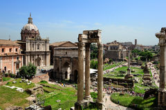 Temple of Vespasian and Titus, Arch of Septimius Severus and La Stock Image