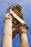 Temple of Vespasian and Titus in the Roman Forum Stock Images