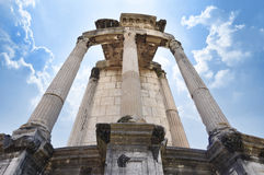 Temple of Vesta in the Roman Forum. Temple of Vesta, the site in the Roman Forum that held the Sacred Fire of Vesta, tended by the Vestal Virgins royalty free stock photo