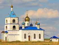 The temple in the village of Belovka. The temple in honor of the Most Holy Theotokos in the village of Belovka in the Samara region Royalty Free Stock Photo
