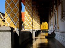 Temple walk way. A passageway on the side of a temple building Royalty Free Stock Images