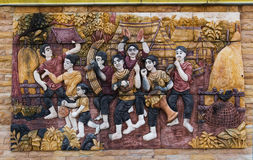 Temple wall. In Thailand ,Thai culture stock images