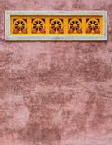 Temple wall background. Deer and Thammachak wheel in temple wall background Stock Photography
