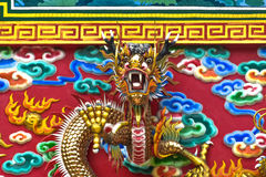 Temple Wall, Dragon head Chinese art.  Royalty Free Stock Images