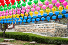 Temple wall and the lanterns - Day colorful paper lanterns Stock Photo