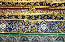 Temple wall ornate ceramic, Thailand Royalty Free Stock Photos