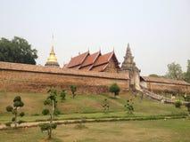 Temple wall. 'Prathat Lampang luang' golden pagoda temple wall at Lampang province,Thailand Royalty Free Stock Images